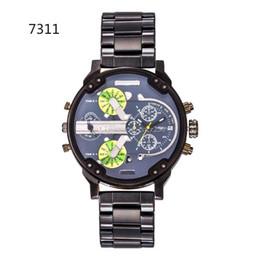 Wholesale Camel Time - DZ 7311 Big Dial Luxury Brand Watch For Man Military Wristwatch 2 time zone Men Sports Watch Fashion Dress Watches Casual Quartz Watch