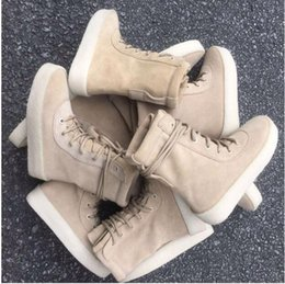 Wholesale Spain Leather - Kanye West Season 2 Crepe Boot YEZ Brown 2016 New Boot High Cut Made in Spain with Original box fashion sneakers Men women boot size 36-46
