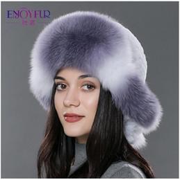 Wholesale Headwear Styles - Women's furs bomer hat for winter natural rex rabbit fox fur caps thick warm winter fur hat Russian style fur headwear