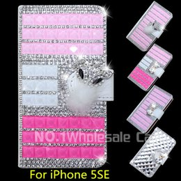 Wholesale Iphone Leahter Case - 3D Luxury Bling For iPhone 5SE Flip Bling leahter case cover Diamond crystal holder wallet For iPhone 5SE