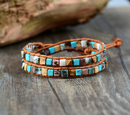 Wholesale Leather Wrap Bracelets Stones - Wholesale High End Mix Natural Stones 2 Strands Leather Wrap Bracelets Vintage Weaving Beaded Bracelet Handmade Hawaii Bracelet