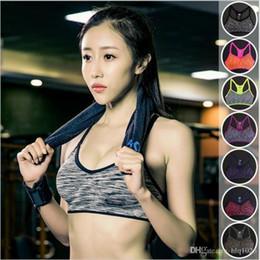 Wholesale Hook Up Wire Silver - Women Yoga Bra Padded Wire free Shake proof Push Up Seamless Running Gym Bra free shipping