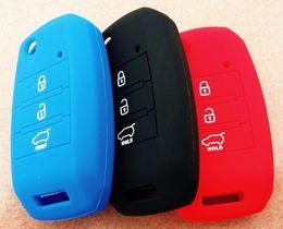 Wholesale kia smart key remote - Car styling Silicone Flip Folding Key Case For KIA K3 K3S New Sorento 2014 K4 K5 Smart remote key Cover fob
