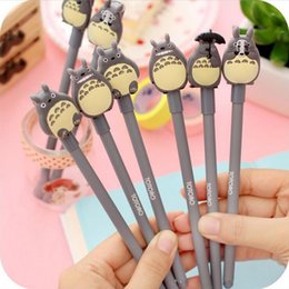 Wholesale New Stationery For School - Wholesale-New 0.5mm Kawaii Cartoon Totoro Gel pens Cute Creative Stationery For Students School Supplies Free Shipping