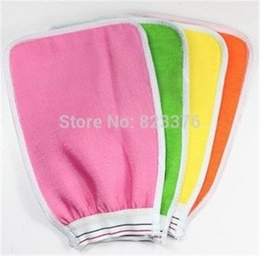 Wholesale Bath Shower Glove - DHL Freeshipping 400pcs Shower Towel Magic Peeling Glove Exfoliating Bath Glove