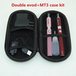 Wholesale Double E Smoke - Smoking Electronic Cigarette EVOD Dual Kits MT3 Double Kits MT3 Atomizer 650mah 900mah 1100mah EVOD Battery E Cig MT3 Kits