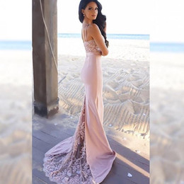 Wholesale Top Designers Mermaid Dresses - Designer Lace Evening Gowns Spaghetti Lace Top Party Dress Bridesmaid Dresses robe de soiree Arabic Dubai Prom Dress vestidos de fiesta