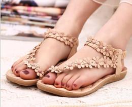 Wholesale Cheap Low Heel Sandals - women summer shoes women flip beaded flower flip-flop flat sandals 35-39 White Khaki Flower Cheap Shoes