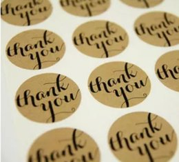Wholesale Print Christmas Wrapping Paper - Thank you Label Stickers Round Self-adhesive Sticker Kraft paper Baking seal Labels Gift Packaging Tag Label Stickers C2035