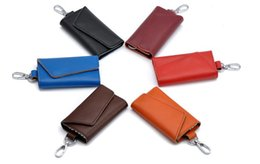 Wholesale Leather Mens Key Wallet - LUXURY LEATHER AAA LOOU MENS AND WOMEN KEY WALLETS FASHION DESIGNERS BRAND TOP LEATHER U100% 4 & 6 KEY WALLETS