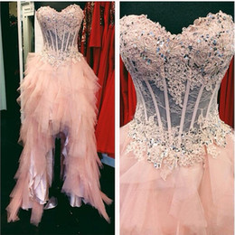 Wholesale High Low Corset Prom Dress - Pink Lace High Low Prom Dresses 2016 Real Photos Sweetheart Corset Short Front Long Back Formal Pageant Gowns Custom Made New Evening Party