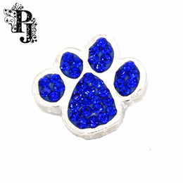 Wholesale Paw Print Bracelets - 12pcs lots Snaps Snap Charm Royal Blue Crystal Rhinestone Dog  Cat Paw Print Ginger Chunky Buttons Interchangable Jewelry Snap Accessory
