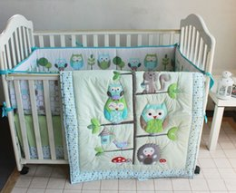 Wholesale Cotton Quilts Sets - Promotion! 7PCS baby bedding set Cot set Embroidered Quilt Bumper Sheet Dust Ruffle (bumper+duvet+bed cover+bed skirt)