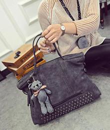 Wholesale Ladies Ostrich Bags - New 2016 Fashion Rivet Women Handbag Frosted Women Messenger Bag Large Capacity Women Tote Shoulder Ladies Tassel Bag HQB1338