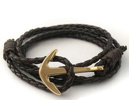 Wholesale Hand Chain Bracelet For Men - New Fashion Multilayer Leather Men Bracelet Jewelry Man Anchor Bracelet Wristband Charm Braclet for Male Accessories Hand Cuff