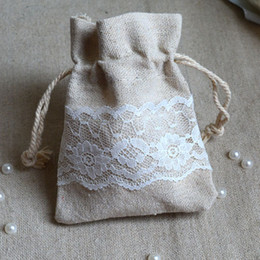 Wholesale Satin Drawstring Pouch Jewelry Bag - Cotton Linen Lace Gift Bag 8x10cm Birthday Party Wedding Favor Holder chocolate Jewelry Drawstring Pouch