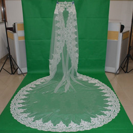 Wholesale Cathedral Mantilla - Cathedral Wedding Veil 3 Meters Long 1.5 Meters Wide Lace Edge Bridal Veils Tulle Bridal Veils Mantilla Cheap Wedding Dresses 2016