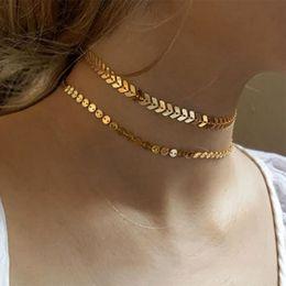 Wholesale bone choker necklace - Bohemian Sequins Fish Bone Necklace Simple Double Layer Chokers Women Jewelry Chocker #235655