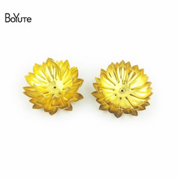 Wholesale Metal Flower Embellishments Wholesale - BoYuTe 5 Pieces 4 Colors 30MM Metal Brass Flower Decoration Embellishments Diy Hand Made Jewelry Findings Components