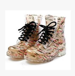 Wholesale Ladies Leopard Heels - 2016 Women's Rain Boot Spring Fashion Rubber Round Toe Floral Leopard Lace-Up Ankle Boot,Big Size 36-40,Lady Water Shoe