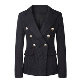 Wholesale Black Metal Jacket - Hot Brand B Free Shipping Top Quality Original Design Women's Ladies Females Double-Breasted Twill Jacket Blazer Coat 3colors Metal Buckle