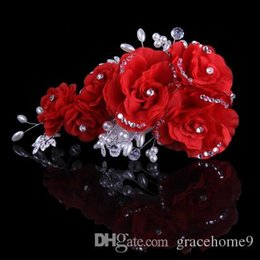 Wholesale Hand Made Hair Accessories - 2015 New Hot Sale Hair Clip Accessories Beige Red Purple Pink 6 Colors Hand Made Flower Bead Crystal Bridal Hairpiece Weddind Hair Pear Pins