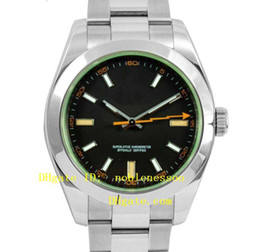 Wholesale Date Crystal - Top quality Luxury Watch 116400GV Black Dial Green Crystal 40MM 116400 Steel Automatic Mens Men's Watch Watches