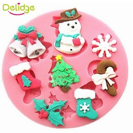 Wholesale Christmas Tree Silicone Mould - 1 pcs Snowman Christmas Tree Cake Mold Silicone Fondant Cake Mould DIY Decorating Tools Round Christmas Style Fondant Mold
