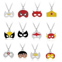 Wholesale Batman Charms - Christmas Mask Shape Necklaces Halloween Gift Party Pendant Charm Necklace Batman Captain Superman Jewelry Accessories Wholesale 24 Styles