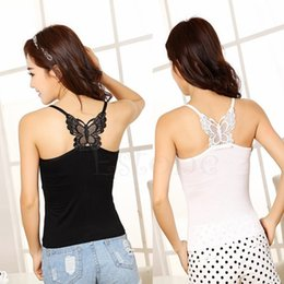 Wholesale Butterfly S - Wholesale-Free Shipping New Sexy Butterfly Women Lace Strap Sleeveless Shirt Vest Blouse Tank Crop Top
