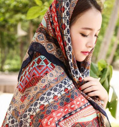 Wholesale Cheap Holiday Scarves - New recommend 2016 new women fashion summer beach shawl beach sea scarfs national wind cotton beach holiday cheap chiffon scarves