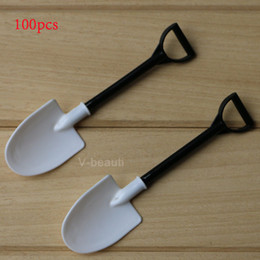 Wholesale Mini Spoons Dessert - Mini shovel shape spoons cute plastic cake spoons for Ice Cream Cake pudding dessert party accesories