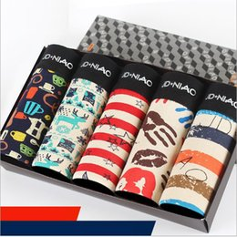 Wholesale Cotton Boxer Pouch - L-3XL Good Quality Pouch Men's Cotton Boxer Shorts Printed Comfortable Breathable Men's Underwear Sexy 5pcs lot Male Underpants Cartoon