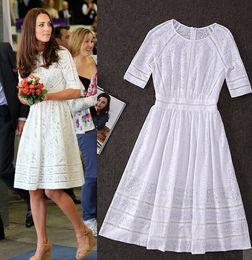 Wholesale Kate Middleton Hottest - Hot Sale Kate Middleton Fashion Princess Dress Women's Elegant White Cotton Embroidery Hollow Casual High Quality Dress