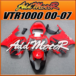 Wholesale Rc51 Fairings - +5 Free Gifts Addmotor Hot Sale Brand New Compression Mold Fairings Body Work Fit Honda VTR1000 2000-2007 VTR1000 00-07 Red Black H1093