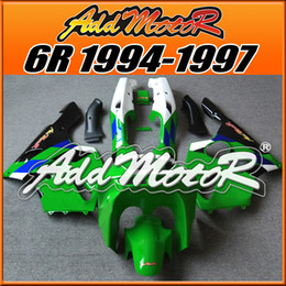 Wholesale Kawasaki Zx6r 97 Green Fairings - Fairings Addmotor NewDesign Compression Mold ABS For Kawasaki ZX6R ZX 6R 1994-1997 94 95 96 97 Green White Black K6439 +5 Free Gifts