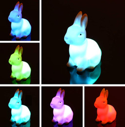 Wholesale Rabbit Night Light Wholesale - Hot sale Funny Child Kid Toy LED Night Light Rabbit Lamp Color Changes Wedding Decor Gift