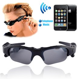 Gafas de sol teléfono auriculares online-Wireless Flip-up Bluetooth Sunglasses Auriculares estéreo MP3 Music Glasses Auriculares Auriculares para teléfono manos libres / Tablet PC