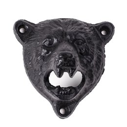 Wholesale Black Bear Wall - Free shipping by DHL or EMS 20 pcs cast iron bear shaped hang wall mounted opener bottle