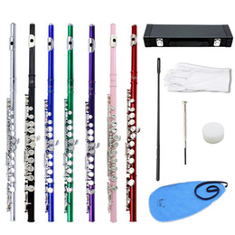 Wholesale Cleaning Nickels - High Quality Flute Cupronickel Plated 16 Holes C Key Flute Woodwind Instrument with Case Cleaning Set Exquisite and Stylish