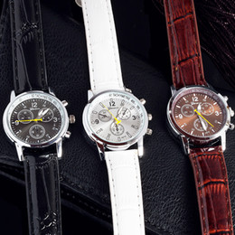 Wholesale Cheap Good Watches - Hot Casual Luxury watch Mens watches Quartz Wristwatch Leather Strap fake three eyes dials Fashion clock relojes for men cheap good quality