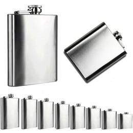 Wholesale Stainless Steel Liquor Flask - 4oz 5oz 6oz 7oz 8oz 9oz 10oz 18oz Jug Stainless Steel Pocket Hip Flask Alcohol Whiskey Liquor Screw Cap