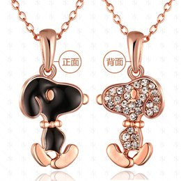 Wholesale Jewelry Paint Gold - European and American Pop Snoopy Diamond Necklace Pendant Necklace Jewelry Green Paint