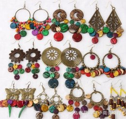 Wholesale Earrings Colorful Stones - Bohemian style colorful Statement Earrings Ethnic Gypsy Beach India African Stone Jewelry retro fashion earrings wholesale Beach earrings