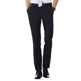 Wholesale Mens Blue Dress Pants - Wholesale-2016 Mens Flat-Front Suit Separate Pant Black Navy-blue Straight-fit Zipper Fly Unelastic Wrinkle-resistant Business Dress Pants