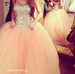 Wholesale Peach Sweetheart Neckline - Peach Colour Big Puffy Prom Dress Sparkly Ball Gown Sweetheart Neckline Tulle Evening Party Gown Quinceanera Dress