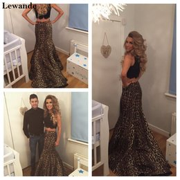 Wholesale Mermaid Evening Dresses Leopard - Halter Beaded Leopard Print Two Piece Senior Prom Dress Long Pattern Pageant Evening Gown Mermaid Taffeta Sweep Train Skirt Lewande 32105