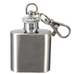 Wholesale Hip Flask Logos - High quality 1oz stainless steel mini hip flask with keychain,personlized logo is available Free Shipping