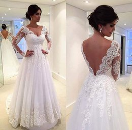Wholesale Mermaid Backless Sexy Train - Vintage Lace Wedding Dresses with Long Sleeves 2016 Sexy V-neck A-line Court Train Wedding Gowns Bridal Gown