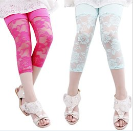 Wholesale Tight Korean Dress Red - Korean 6 Color Spring Summer Autumn Girls Lace Hollowed Leggings for Dress Cropped Trousers Children Girls Clothes K8025
